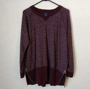 Gap Sweatshirt Maroon Women's XL Side Zip